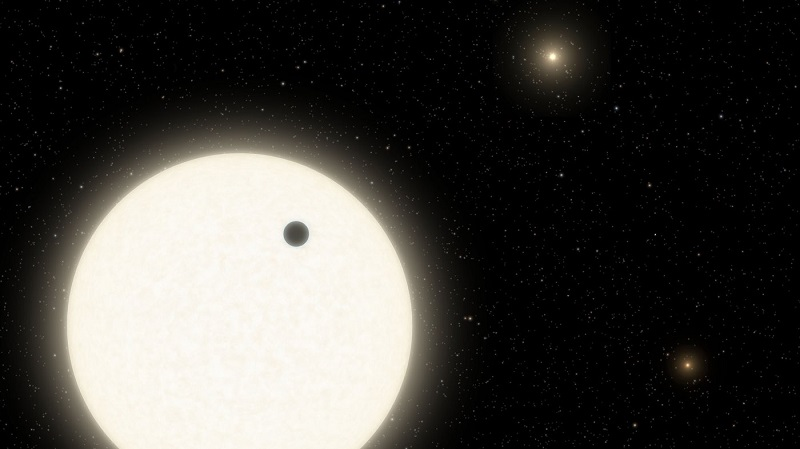 This planet orbits in a triple-star system with special configuration